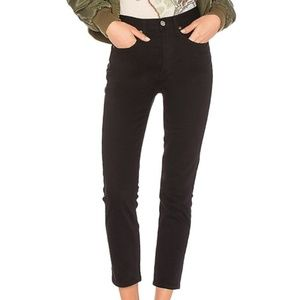 Re/Done Double Needle Crop Slim Cut Black Jeans